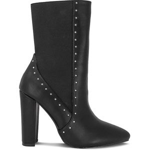 Women's Studded Chunky Heel Black Ankle Bootie